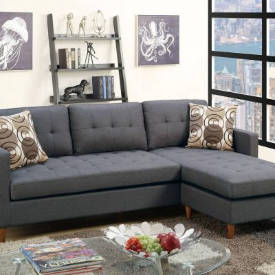 Sectional 2pc Set Blue Grey