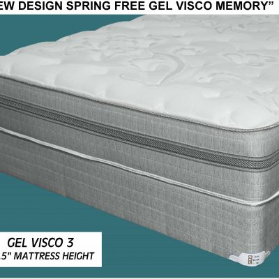 Gel Visco Memory Foam Queen Mattress Set