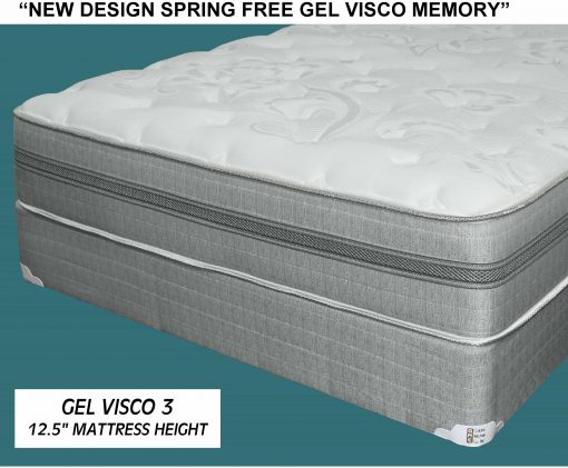 Gel Visco Memory Foam Queen Mattress Set