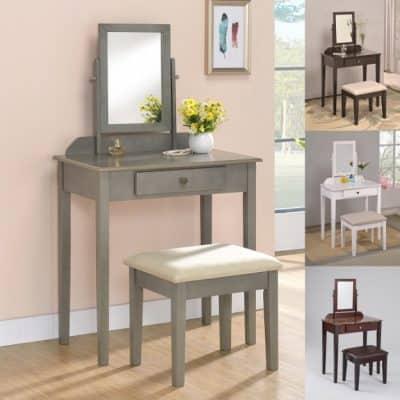 Iris Vanity Table/Stool, Espresso Finish with Beige Seat