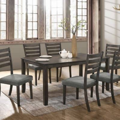 Aubery Dining Dining Table Grey 7pc Set