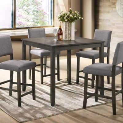 Derick 5 Piece Counter Height Table Set Grey