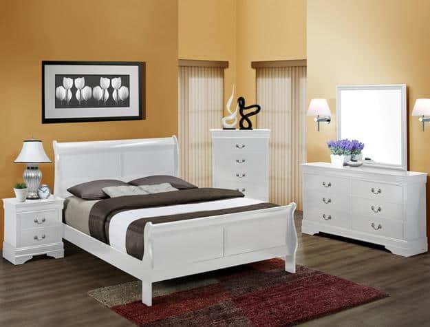 Louis Phillip Queen Bedroom Suite White