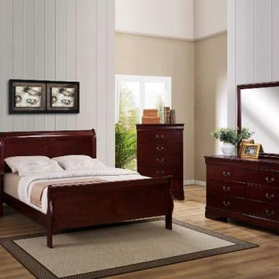 Louis Phillip Queen Bedroom Suite Dark Cherry