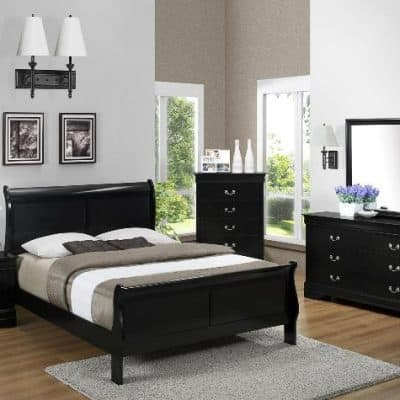 Louis Phillip Queen Bedroom Suite Black