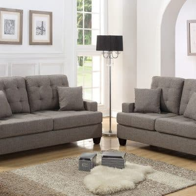 Sofa & Loveseat Set Coffee Linen-Like