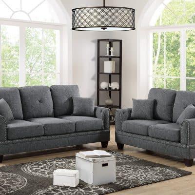 Sofa and Loveseat Set Ash Black