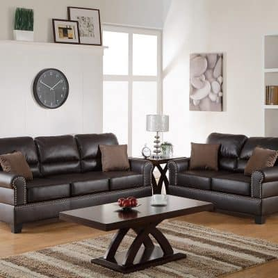 2-PC Sofa Set Bonded Leather Espresso