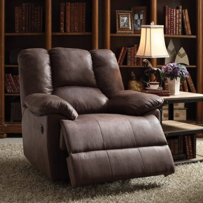 BROWN POLISHED MICROFIBER POWER MOTION RECLINER
